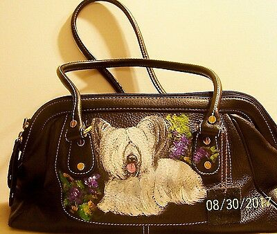 SkyeTerrier dog hand painted genuine leather black Isaac Mizrahi handbag art