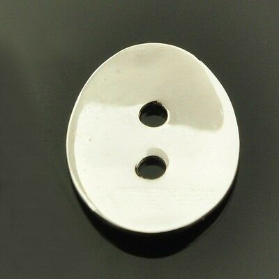 PAIR- Oval BUTTON with 2 holes- 14x11mm- 1.4g- Genuine solid 925 STERLING SILVER