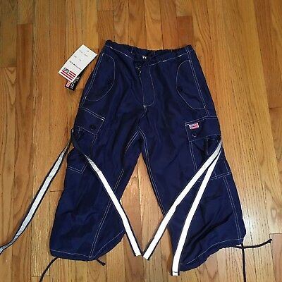 UFO Pants Reflective Wear strappy Cargo Cropped Shorts XS New # 90470