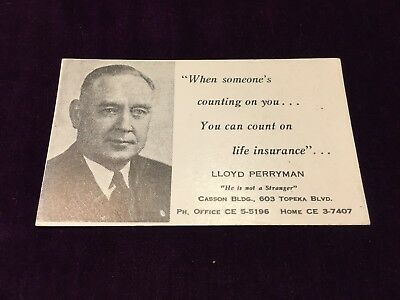 "Vintage Blotter 4 1/2"" Lloyd Perryman Counting on you Count on Life Insurance"