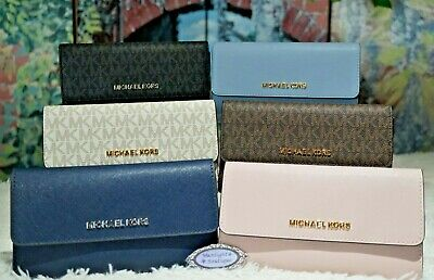 3542f44cc7667a MICHAEL KORS Jet Set TRAVEL LARGE TRIFOLD Wallet VARIOUS Colors PVC &  Leather