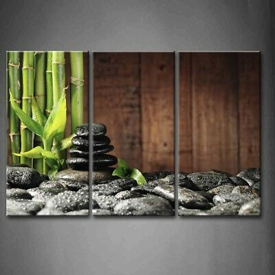 Framed Spa Wall Art Bamboo Black Zen Stones Pictures Print On Canvas Picture