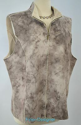 Alfred Dunner faux suede fur shaggy VEST sleeveless jacket full zip SIZE 16 NEW