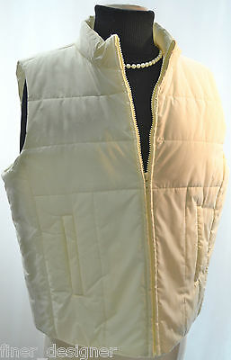 Evan-Picone Quilted Fashion Vest NEW full zip puffer Winter Ivory Coat Top SZ L