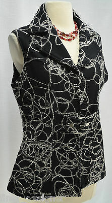 TUMBLEWEED Wool vest SZ M Shaggy soutache geo textured Black White Top chic