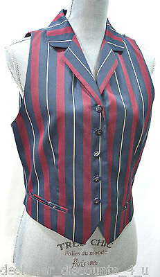 VTG  JH Collectibles New striped career button Vest lined chic V neck Top SIZE 8