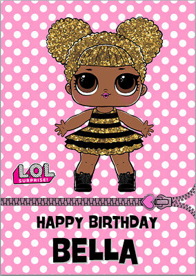 Lol dolls queen bee surprise birthday card a5 personalised any lol dolls queen bee surprise birthday card a5 personalised any wording bookmarktalkfo Images