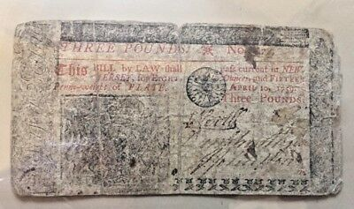 """1759 Colonial New Jersey 3 three pound note """"Tis DEATH to counterfeit"""""""