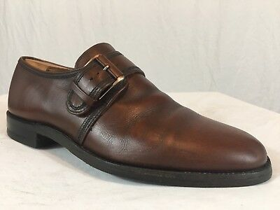 Vintage Monk Strap Single Buckle Oxfords Men's 10 D Brown Casual Dress Shoes