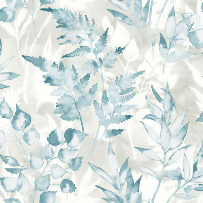 Teal & Grey Watercolour Effect Foliage Leaves Wallpaper - 10m Roll