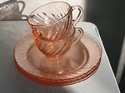 "VINTAGE ARCOROC ROSALINE PINK SWIRL 7 3/4"" LUNCHEON/ SALAD PLATES & Cups FRANCE"