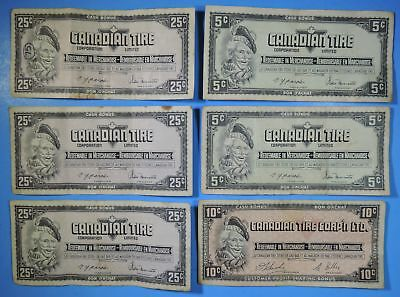 Lot of 6 Canadian Tire Corporation Limited 5 10 & 25 Cent Money Coupon Notes