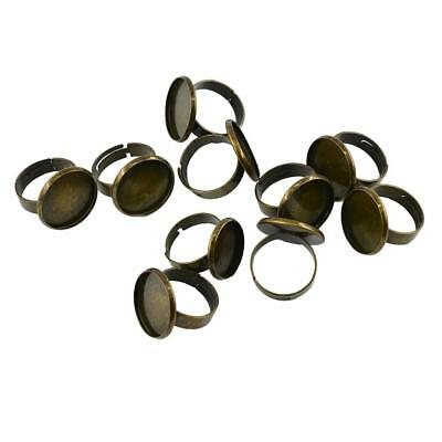10x Antique Brass Adjustable Cameo Cabochon Ring Base Ring Blanks 18mm Bezel