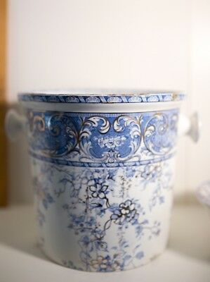 Antique Burslem Blue white gold Transferware Slop waste jar lid England 1889