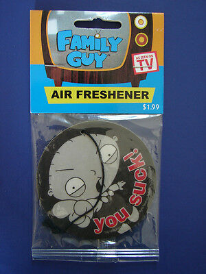 Rare Nip Licensed Family Guy 2004 Stewie Griffin- You Suck!-- Car Air Freshner