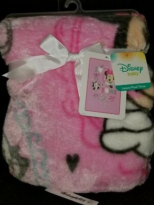 """Disney Baby Girls Minnie Mouse """"all About The Bows"""" Luxury Plush Throw Blanket."""