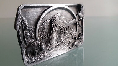Belt Buckle By Siskiyou Usa 1983  American Indian Theme, L27  In Good Condition.