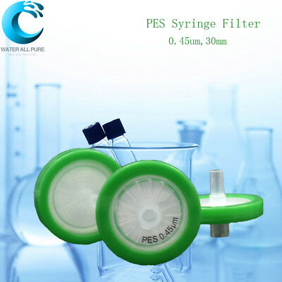 10Pcs PES Syringe Filter 0.45um 30mm Laboratory Supplies Hydrophilic Filter