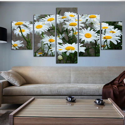 White Daisy Flower 5 Pieces Paintings Canvas Print Wall Art Home Decor-Gift