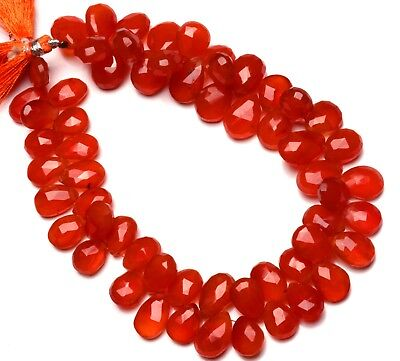 """Natural Gemstone Carnelian Faceted 12x9 to 14x10MM Pear Shape Briolette Beads10"""""""