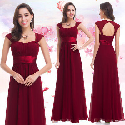 60f78e7ad1 Ever-pretty UK Cap Sleeve Burgundy Bridesmaid Dresses Long Evening Gown  08834