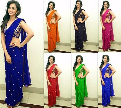 Designer saree bollywood embroidery work fancy traditional sari indian MA