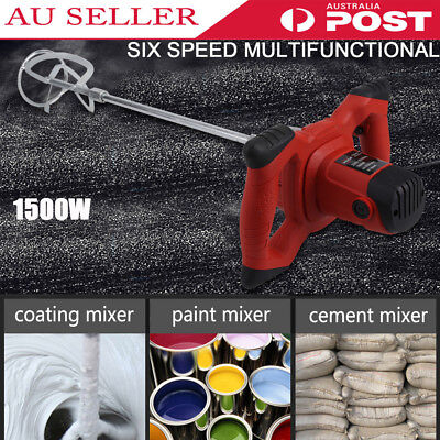 Drywall Mortar Mixer 1500W Plaster Cement Tile Adhesive Render Paint Electric