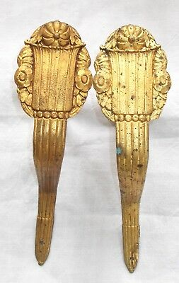 Pair of Large Antique French Curtain Pole Supports, Flower Brass/Bronze Hooks