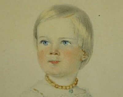 Antique Watercolour Portrait Young Girl Beautiful Circa 1840 European School