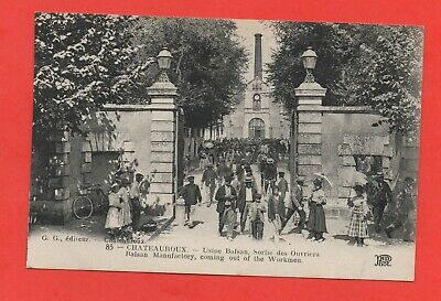 36 - cpa - CHATEAUROUX - Usine Balsan - Sortie ouvriers