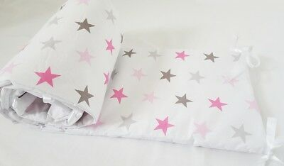 COT BUMPER double-sided STRAIGHT FILLED PADDED FOR COT/COT BED GREY PINK STARS
