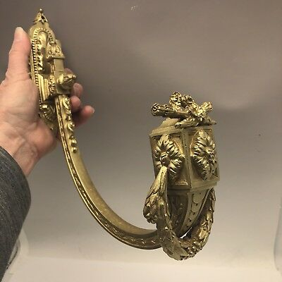 Antique French Ormolu Bronze Chateau Curtain Tie Back Hook Wreath
