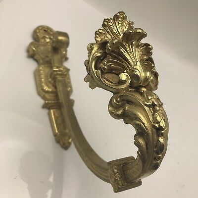 Antique French Ormolu Bronze Chateau Curtain Tie Back Hook Shells
