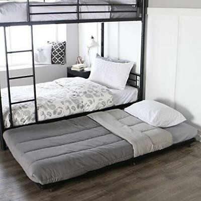 WE Furniture BT40TBWH White Metal Roll Out Twin Trundle Bed Frame NEW