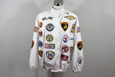 70s Unisex Full Button Small / Medium Racing All Over Patch Bomber Jacket White