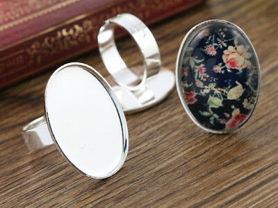Silver Plated Adjustable Ring Blanks | 18x25mm Cabochon Setting | 5pcs