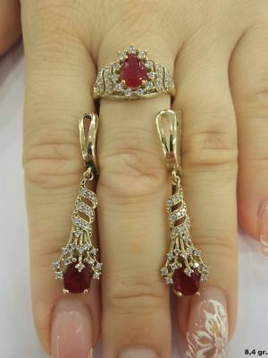 925 Sterling Silver Turkish AAA Quality Ruby Gemstone Ladies Set