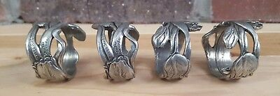 Seagull Pewter Tulip Napkin Rings Metal Signed Spring Flowers Lot 4 Vintage 1990