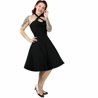 Black Halter Dress Vintage Inspired Fit And Flare Rockabilly Pin Up