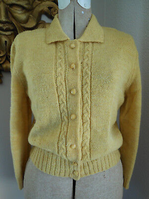 Vtg 40's GOLDEN YELLOW HAND KNIT CROPPED SLIM CARDIGAN SWEATER as is M