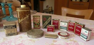 Lot of 13 Old Tins! Spices/Epson Salt/Tobacco/Tape/Durkee's/Bathasweet/Schilling