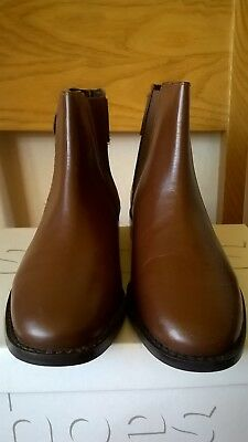 Maroon (Light Brown) Leather Flat Chelsea Boots size UK 5  RRP 49.01