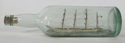 Vintage Whimsy Maritime Folk Art Sailing Clipper Ship in Bottle Nautical NR yqz