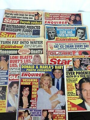 Lot of 9 Celeberty Gossip Papers Globe Star Enquirer Sun 1990 1993