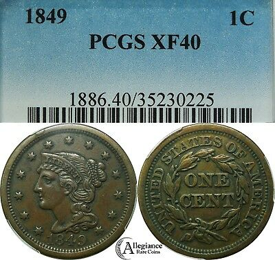 1849 1c Braided Hair Large Cent PCGS XF40 rare old type coin choice copper penny