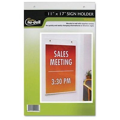 "Nu-dell Vertical Wall Sign Holder - 11"" Width X 17"" Height - Acrylic - Clear"