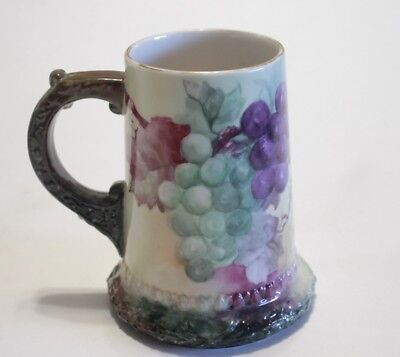 "Belleek Ceramic Art Co ""CAC"" American Vintage Porcelain Tankard Mug Berry Grapes"