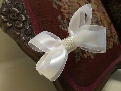 First Communion  White Satin Headband with Sheer and Satin Bow w/ pearl center