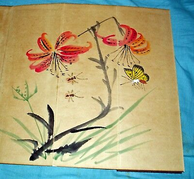 19th CENTURY 6 X CHINA OR JAPAN BRUSH PAINTINGS FOLD OUT BOOK SIZE 39 X 30 CM