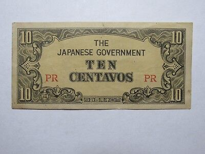 Old Philippines Paper Money Currency - #104a 1942 10 Centavos - Nice Circulated